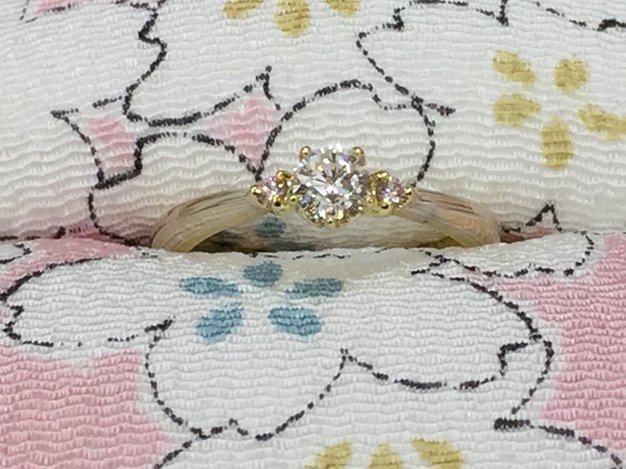 婚約指輪、杢目金、エンゲージリング、富山、オーダーメイド