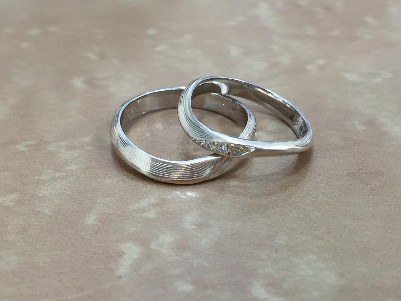 木目金、結婚指輪、オーダーメイド、和柄