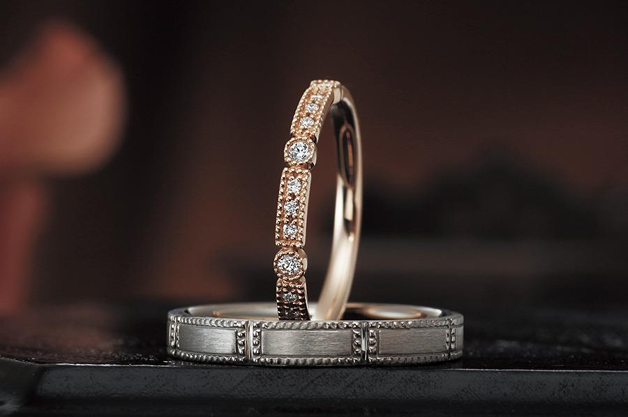 シェールラブ、アンティーク調、結婚指輪